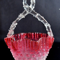 Victorian Glass Basket Cranberry Rubina Hobnail Thorn Handle Harrach Attributed