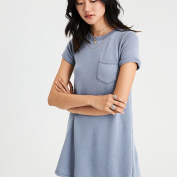 AE Fleece T-Shirt Dress, Blue