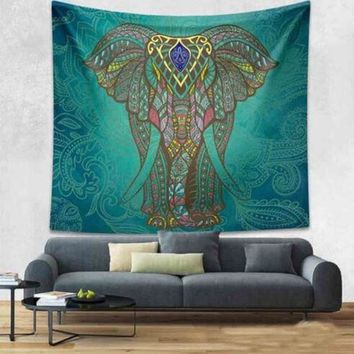 ICIKJG2 Mandala Tapestry 200CM Polyester Wall Tapestry Indian Elephant Tapestry Lotus Yoga Mat Home Decor Carpet toalla mandalas playa