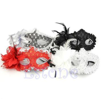 ICIKM2 A96 Free Shipping Sexy Venetian Lace Feather Ball Masquerade Mask Paillette Flower Party Eye Masks
