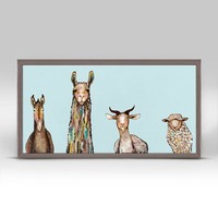 Donkey, Llama, Goat, Sheep - Sky Blue Mini Framed Canvas