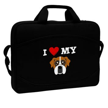 "I Heart My - Cute Boxer Dog 15"" Dark Laptop / Tablet Case Bag by TooLoud"