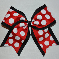 The Minni - Red & White Polka Dot Cheer Bow