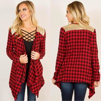 Irregular Plaid Long-Sleeved Cardigan Jacket