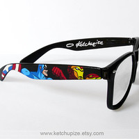 The Avengers glasses comic unique hand painted  by ketchupize