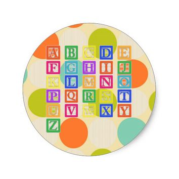 Block Letters Classic Round Sticker
