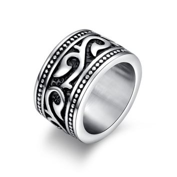 Vintage Engraved Barbed Vine Rings for Men Women Stainless Steel Gothic Floral Band Rock Heavy Metal Biker Jewelry