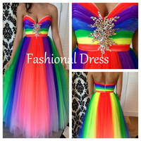 Sweetheart Rainbow Prom Dress,Fashion Elegant Prom Dress,Unique Prom Dress.Long Tulle Prom Dress