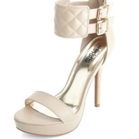 Quilted Ankle Cuff Platform Heels by Charlotte Russe - Nude