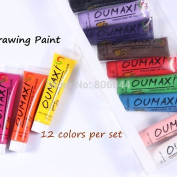 Free Shipping 12 Colors OUMAXI acrylic Paint Nail Art Polish 3D Paint Decor Design Tips Tube#A042