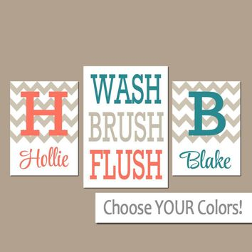Brother BATHROOM Canvas or Prints Boy Girl Bathroom Monogram Personalized Name Coral Teal WASH Brush Flush Set of 3 BATHROOM Rules Pictures