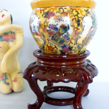 Asian Bowl with Wooden Stand, Decorative Bowl
