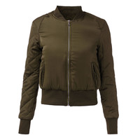 Quilted Army Slim Zipper Jacket