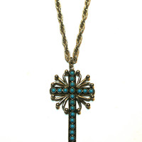 Cross Necklace Faux Turquoise and Silver Tone Link Chain