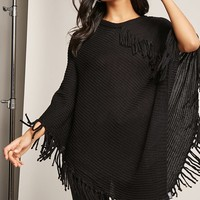 Fringed Sweater-Knit Poncho