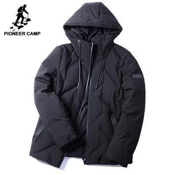 Pioneer camp new style warm winter men down jackets brand clothing fashion hooded 90% white duck down coat male black AYR705331