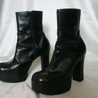 90s PLATFORM Ankle BOOTS / Black Goth Vegan Club kid Women's Shoes 6.5