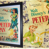 Disney Vintage Peter Pan Movie Poster Framed Print A4