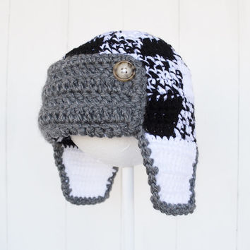 White and Black Plaid Hat, Ready To Ship