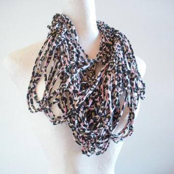 Leopard Print Infinity Scarf Upcycled Black Tan Pink Animal Print Chunky Cowl Tribal Nomad Circle Scarf Spring Fashion