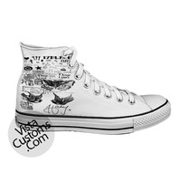 1D Harry Styles Tattoo One Direction White shoes New Hot Shoes