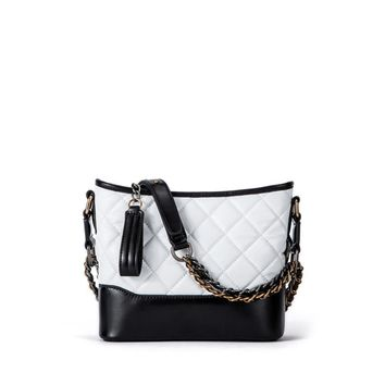 Genuine Leather Quilted Tote Bag