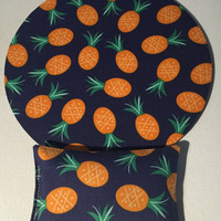 mousepad - mat - wrist rest set - navy pineapple -dorm, friend, cubicle gift decor accessories