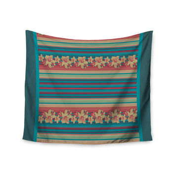 "Nina May ""Mahalo Denim Stripe"" Teal Floral Wall Tapestry"