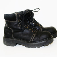 90s chunky Boots lace up combat black leather Cyber Goth Punk soft Grunge cosplay Festival cosplay hipster industrial gothic us 7 uk 5 eu 38