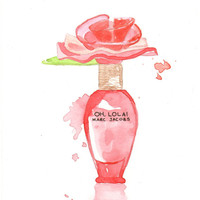 Marc Jacobs Oh Lola Fragrance - Watercolor Perfume bottle illustration