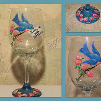 Hand Painted Bluebird Wine Glass