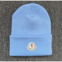Moncler Sttlish Women Men Personality Beanies Winter Knit Hat Cap Blue