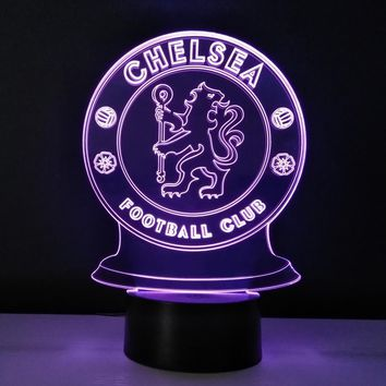 Chelsea FC Futbol Football Club Soccer Hazard Modern Futuristic LED Color-Changing USB-Powered 3D Illusion Night Light Desk Lamp