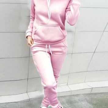 Pink Pockets Drawstring 2-in-1 Hooded Casual Long Jumpsuit