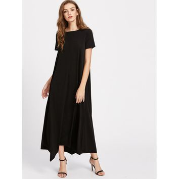 Hanky Hem Tent Dress With Hidden Pocket Black