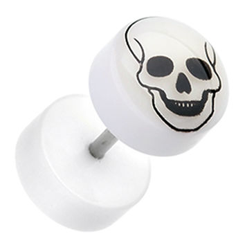 Glow in the Dark Death Skull Acrylic Fake Plug