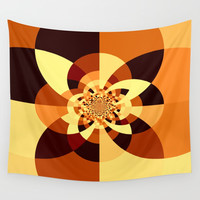 Orange Brown Kaliedoscope Wall Tapestry by Simply Chic