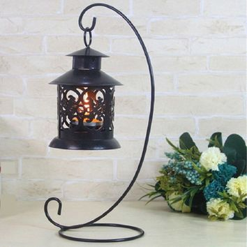 Romantic Lantern Metal Iron Candle Holder Candlestick Glass Ball Lantern Cabin Micro Landscape Hanging Stand Wedding Home Decor
