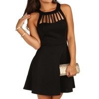 Black Caged Scuba Skater Dress