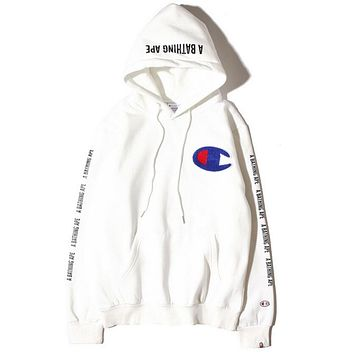 Champion X Bape Fashion Women Men Print Hoodies Sweater Top