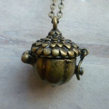Acorn Locket   Squirrel Treasure Vintage by SilkPurseSowsEar