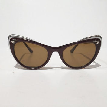 Vintage American Optical Brown Sunglasses with Silver Accents, American Optical Cat Eye Sunglasses Wood Grain and Silver, Look New!