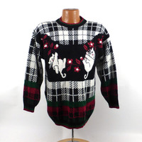 Ugly Christmas Sweater Vintage Cats Tacky Holiday Party Women's