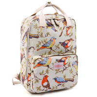 Cute Bird Pattern Canvas Laptop Backpack School Bookbag Travel Daypack