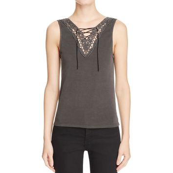 Project Social T Womens Crochet Front Sleeveless Camisole Top