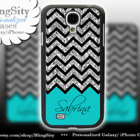 Sparkle Aqua Teal Monogram Galaxy S4 case Galaxy S5 Case Note 2 3 S3 Cover Not Actual Glitter Black Chevron Zig Zag Personalized Name