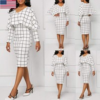 US Women Elegant Flounce Flared Office Business Dress Classical Plaid Party Gown