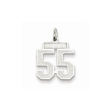 925 Sterling Silver Small Satin Number 55 Charm and Pendant