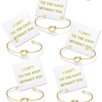 """I Can't Tie The Knot Without You"" Gift Card and Bridesmaid Bracelets Gold Tone- Set of 4,5,6"