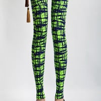 Blue and Green Graphic Leggings
